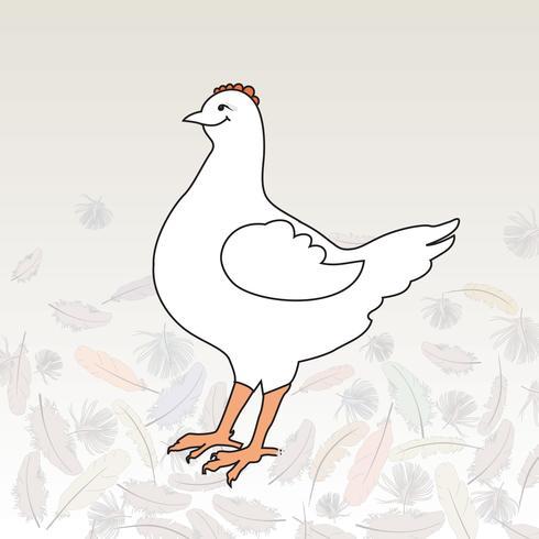 illustration de poule heureuse oiseau de ferme. Icône du bétail vecteur