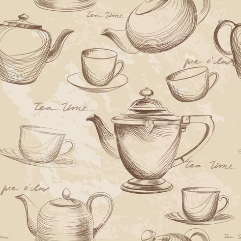 Coupe, pot, modèle sans couture de bouilloire. Fond de boissons chaudes à l'heure du thé vecteur