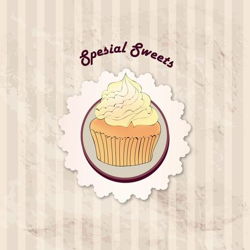 Gâteau. Fond de menu de café. Étiquette de boulangerie. Doux, Dessert vecteur