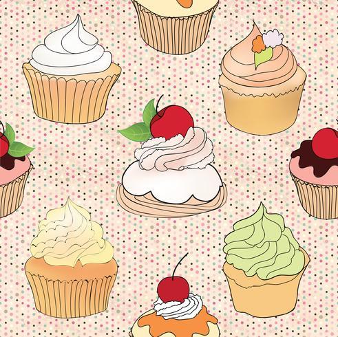 Modèle de gâteau. Tuile de menu de café fond. Dessert Cupcake vecteur