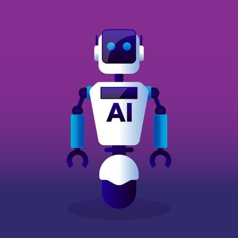 Robot avec intelligence artificielle vecteur