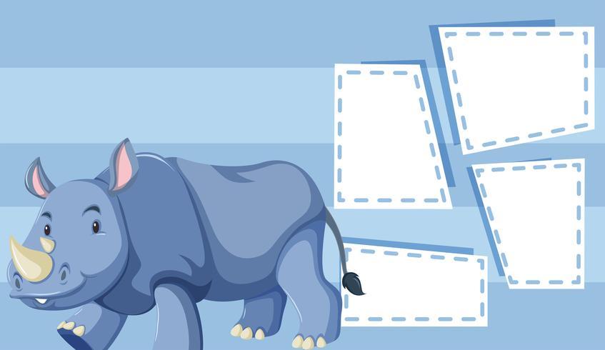 Un rhinocéros sur un modèle vierge vecteur