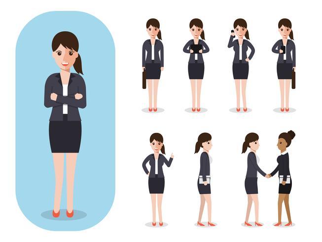 Ensemble de femme d'affaires au travail. vecteur