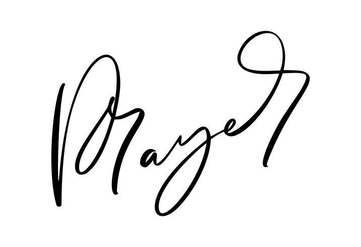 Texte de prière calligraphie dessiné à la main. Lettrage de typographie chrétienne, dessin pour bannière, affiche, superposition de photo, conception de vêtements. Illustration vectorielle isolée sur fond blanc vecteur