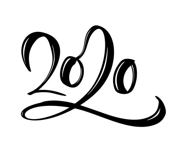 Dessinés à la main vector lettrage calligraphie noir numéro texte 2020. Carte de voeux de bonne année. Vintage design d'illustration de Noël