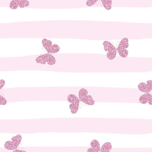 Papillons scintillants roses sur fond rayé. Joli modèle sans couture pour les filles. vecteur