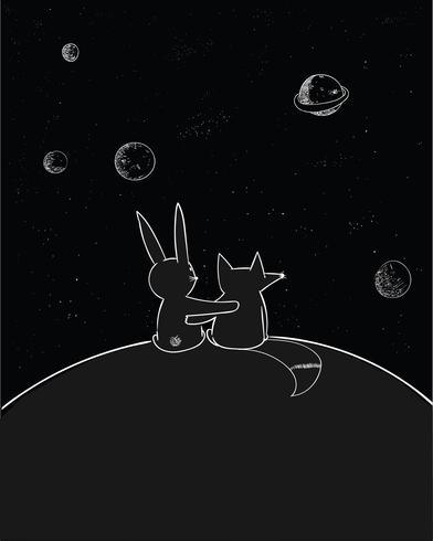 Les lapins et les renards sont des amis, les deux s'aiment et observent les étoiles vecteur