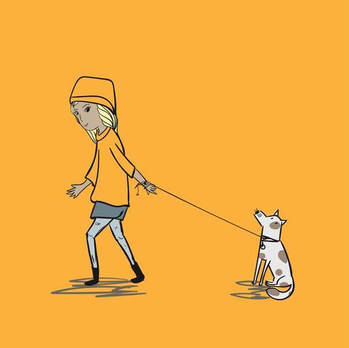 La fille tire le chien pour faire un voyage. Les chiens têtus n'écoutent pas les ordres des patrons vecteur