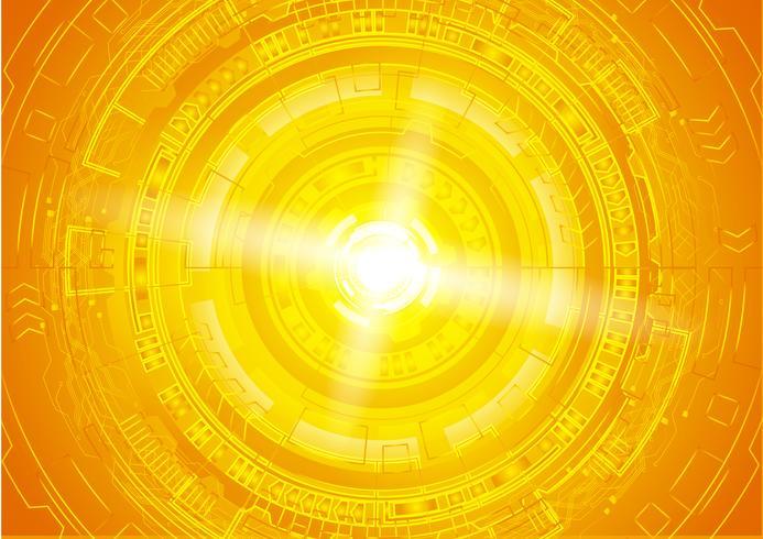 Concept de cyber-sécurité oeil orange, résumé salut internet numérique de vitesse. technologie future, fond de vecteur. vecteur