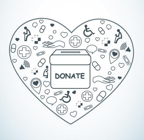 don, organisme de bienfaisance pour la médecine et la santé sur le vecteur de forme de coeur