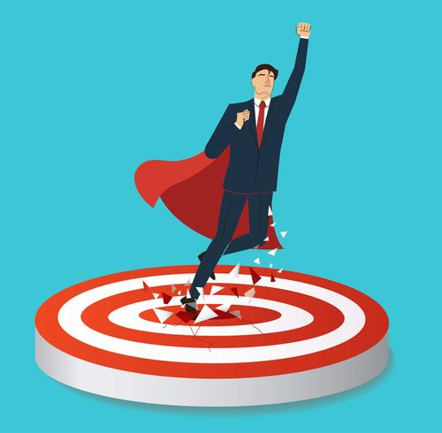 homme d'affaires, cible de tir à l'arc au vecteur de succès. Illustration de concept d'affaires