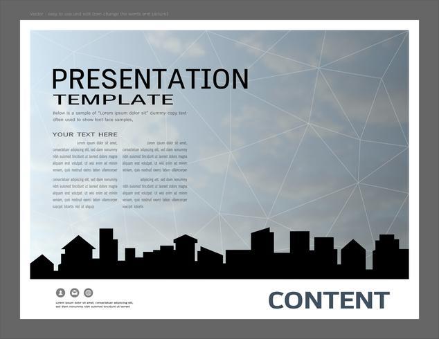 Modèle de conception de présentation, bâtiments de la ville et concept immobilier. vecteur