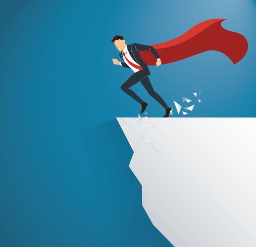 homme d'affaires avec cap surmonter concept de risque de crise obstacle vecteur