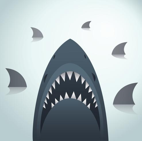 Requin vector illustration et fond de l'espace