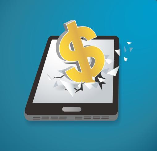 Icône de dollar vecteur de smartphone écran percée