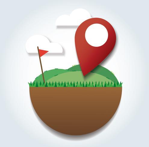 Icône de lieu sur le champ vert et le drapeau rouge. atteindre à destination. symbole de voyage vecteur