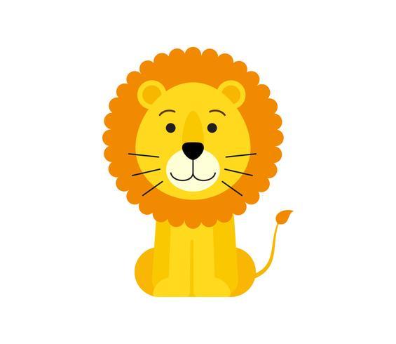 Illustration vectorielle de dessin animé mignon lion isolé sur fond blanc vecteur