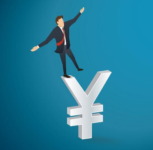 homme d'affaires ou homme marchant en équilibre sur le vecteur icône yen dollar