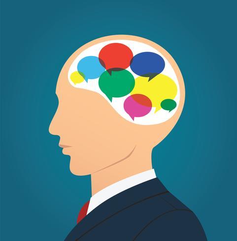 Homme d'affaires avec l'icône de boîte de chat coloré en tête vecteur