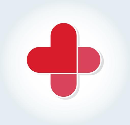 coeur dans la conception de l'icône de l'hôpital, coeur dans le symbole médical vecteur