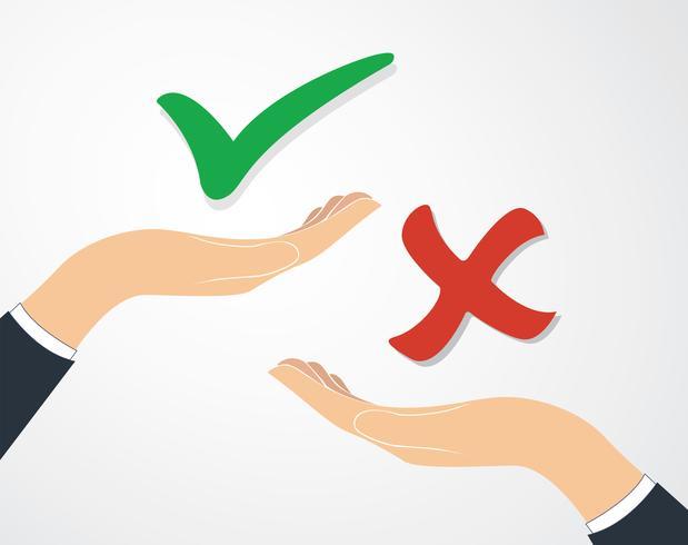 prendre une décision, vrai ou faux vecteur