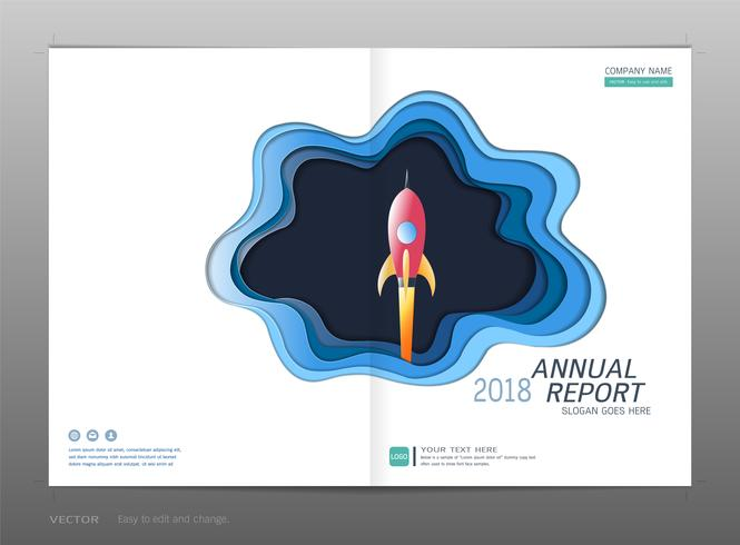 Rapport annuel de la conception de la couverture, concept de leadership et de démarrage. vecteur