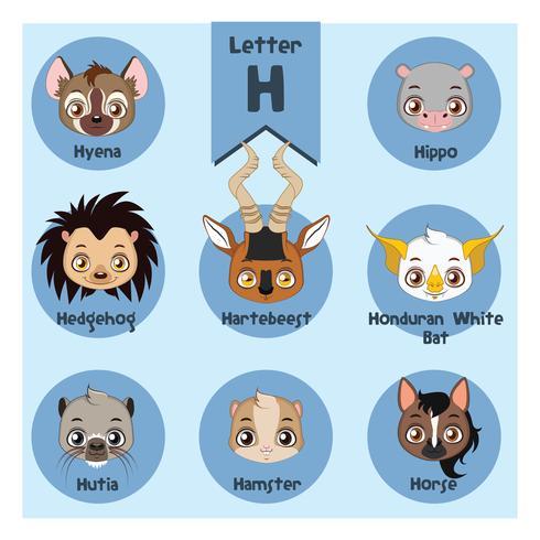 Alphabet portrait animalier - Lettre H vecteur