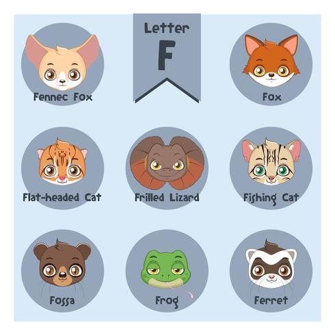 Alphabet portrait animalier - Lettre F vecteur