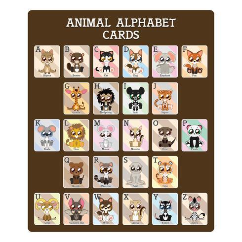 Fun alphabet animal éducatif cartes vecteur