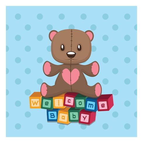 Bienvenue, voeux de bébé avec peluche et blocs de construction vecteur