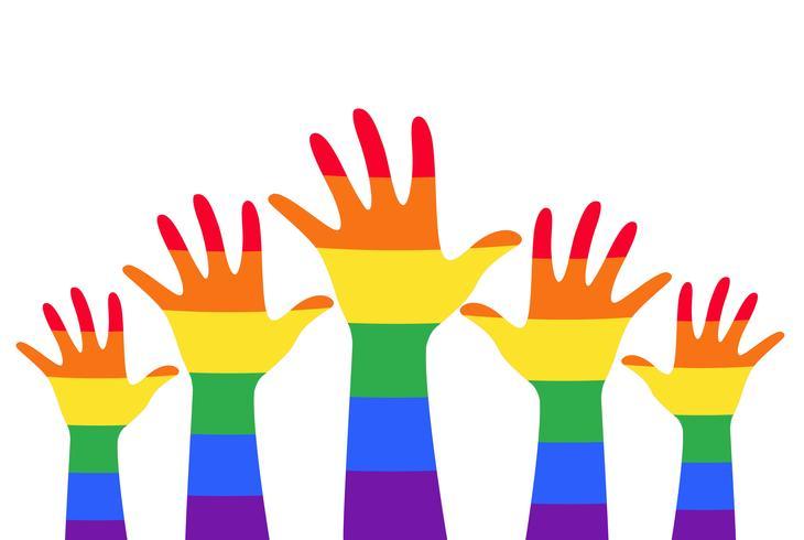 mains haut coloré arc en ciel drapeau symbole vecteur
