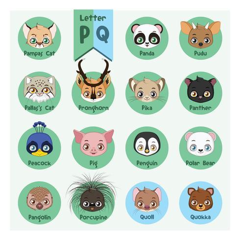 Alphabet portrait animalier - Lettre P et Q vecteur