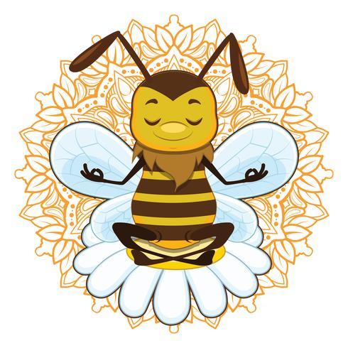 Illustration d'une abeille en train de méditer vecteur