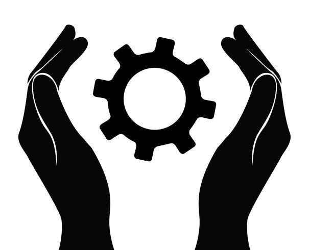 main tenant engrenage, symbole ingénieur vecteur