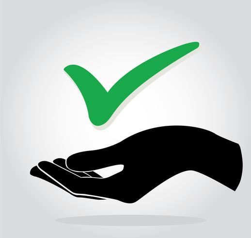 main tenant symbole d'icône de vérification vecteur