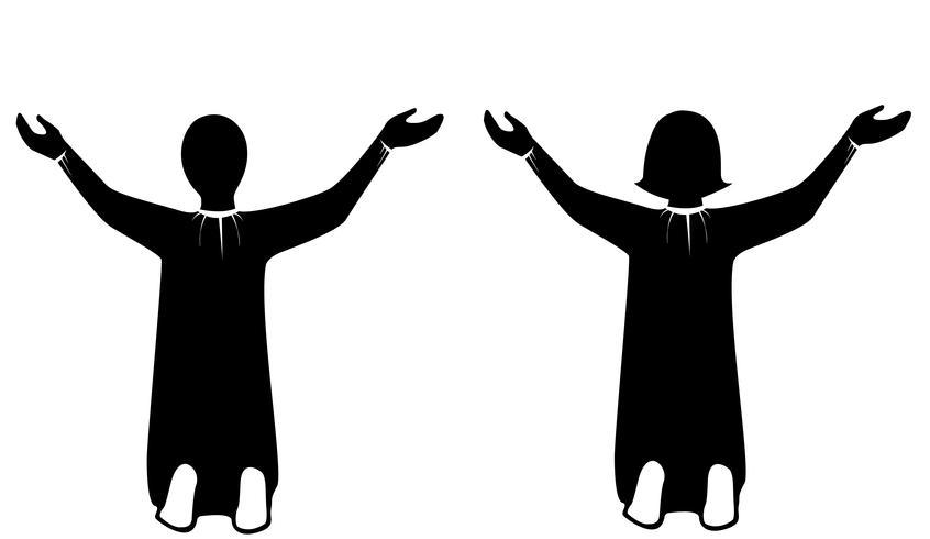 Prier à Jésus Christ art vecteur