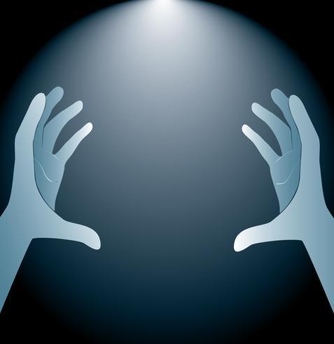 mains tenant et vecteur de fond d'éclairage