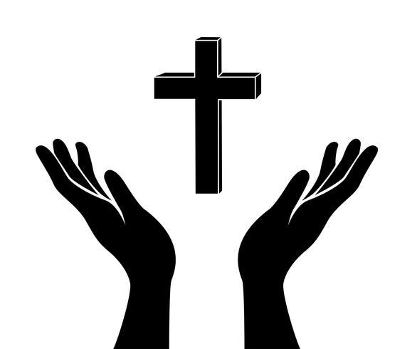 main et le signe de croix de Jésus Christ vecteur