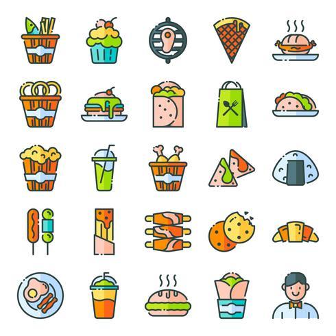 Pack d'icônes fast food vecteur
