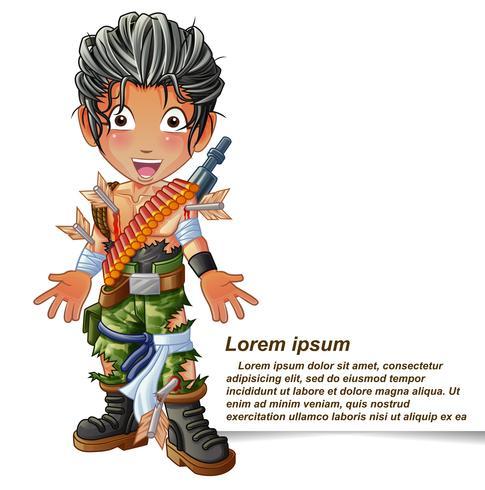 Personnage de soldat en style cartoon. vecteur