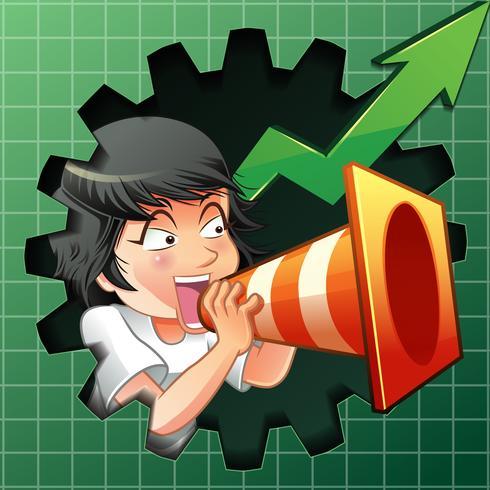 La personne invite à acheter des actions. vecteur