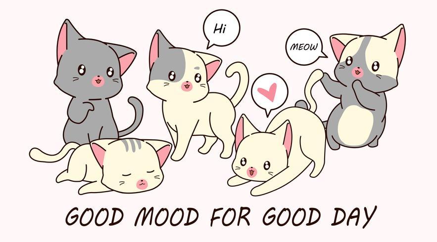 Dessine 5 petits personnages de chat. vecteur