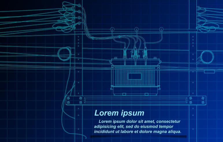 Croquis du transformateur et du câble sur fond de plan. vecteur