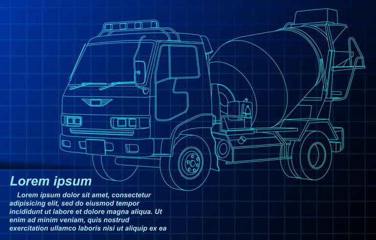 camion de ciment filaire. vecteur