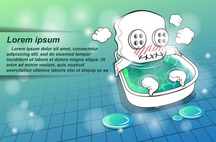 Le personnage de la mascotte prend un bain. vecteur