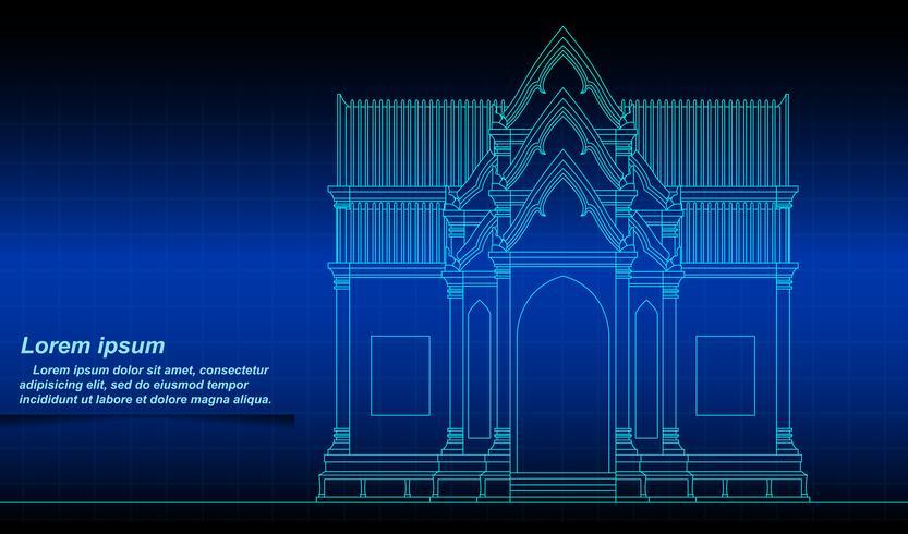 Contour de bâtiment thaïlandais historique. vecteur