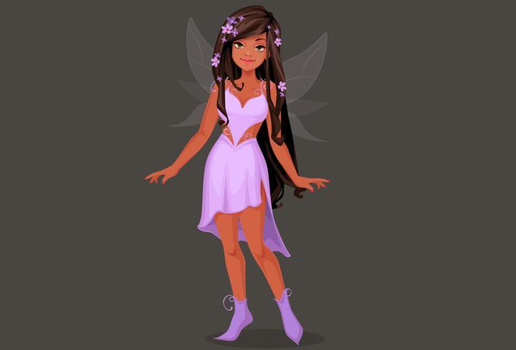 Belle fée en robe violette vecteur