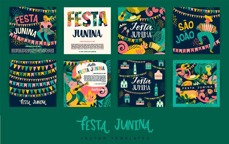 Festa Junina. Modèles de vecteur. vecteur