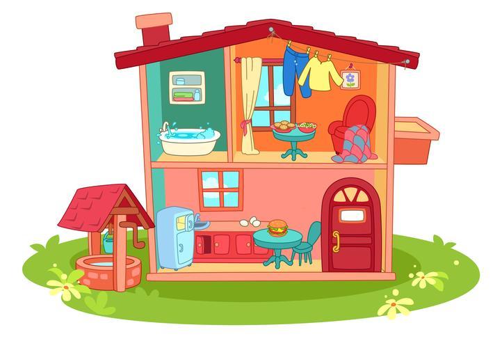 Caricature de maison de poupée vecteur
