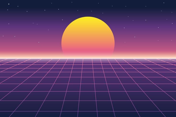 Illustration vectorielle du soleil et paysage numérique dans le style des années 1980 rétro futuriste vecteur